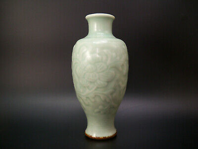 Chinese Incised Green Longquan Celadon Floral Vase