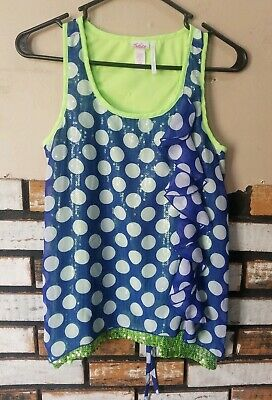 Justice Girls Ruffle Tank Top Shirt Size 16 Blue Polkadot Green Sequins