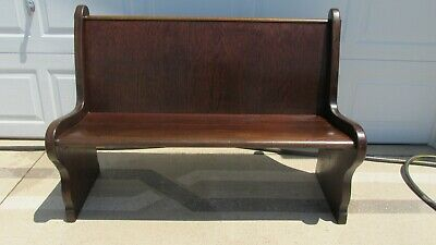 Amazing Antique Church Pew Oak Wood Old Bench Seat 49 5 Long Caraccident5 Cool Chair Designs And Ideas Caraccident5Info
