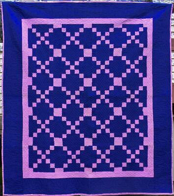 """Antique Amish Quilt, """"Puss in the Corner"""" Holmes County, Ohio #18554"""