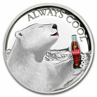 COCA COLA Ours Polaire Toujours Cool 29,6ml Pièce Argent Fiji 2019