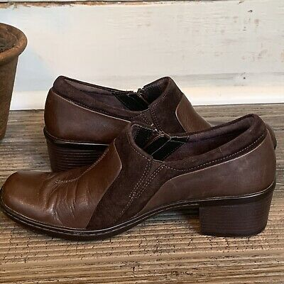 46a9840cefcc9 Clarks Artisan Leather Side Zip Heel Ankle Booties Brown Size 6.5M style  82897