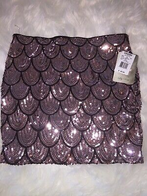 fec15293e8 NWT Lily Rose Womens Pink Sequin Covered Mermaid Scale Mini Skirt Stretch  Med
