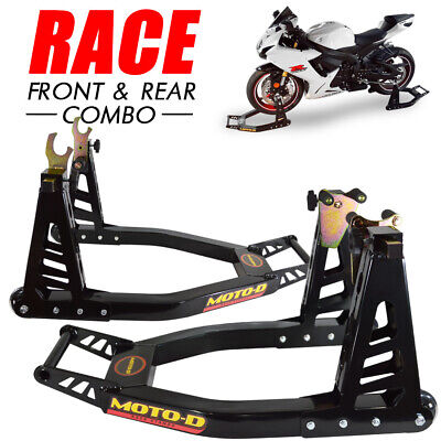 "MOTO-D ""Race"" Aluminum Motorcycle Stands (Front + Rear) - Combo"
