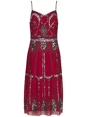 1920's Art Deco Sequin Beaded  Bridesmaid Party Formal Dress BNWT Red UK Size 16