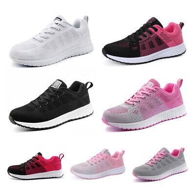 Womens Ladies Lace Up Breathable Trainers Mesh Sneakers Sports Gym Pumps Shoes
