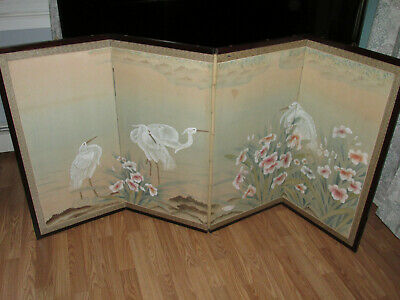 """Vintage Oriental Hand Painted FOUR PANEL FOLDING SCREEN Japanese? Storks 70""""x35"""""""