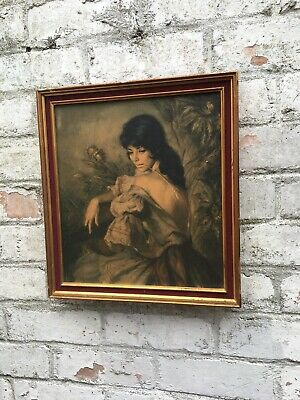 vintage French Mid Century print with wooden frame spanish j h lynch tina