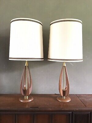 Vintage Pair Mid Century Modern Danish Table Lamps Wood Brass Wishbone Modeline