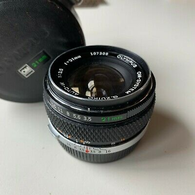 Olympus OM-System Zuiko Auto-W 21mm f3.5 Prime Lens w/both caps and leather case