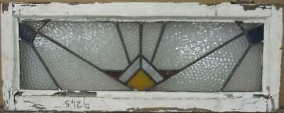 """OLD ENGLISH LEADED STAINED GLASS WINDOW TRANSOM Stunning Geometric 30"""" x 11.75"""""""
