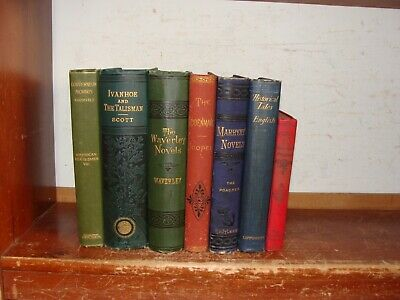 Lot of Antique Books 1800's DECORATIVE OLD SET CHILDREN'S VICTORIAN FINE BINDING