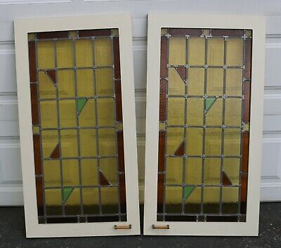 """Vintage Pair of Leaded Stain Glass Panel Windows 44 3/4"""" tall"""