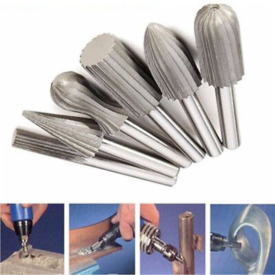 6x Tungsten Steel Carbide Burrs Pack For Rotary Drill Bit Die Grinder 6mm Shank