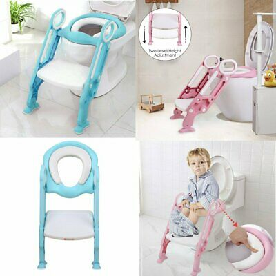 c64d5903e Baby Kids Potty Toddler Toilet Chair Training Seat with Step Stool Ladder  Soft