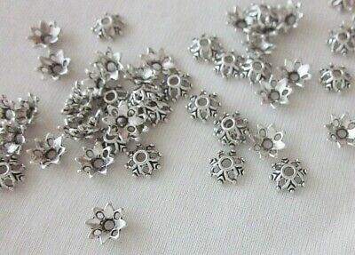 30 Antique Silver Coloured 8mm x 3mm Aztec-Style Bead Caps #bc781 Beading Craft
