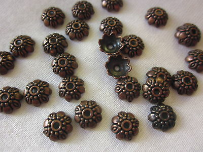 30 Antique Copper Coloured 9mm x 3mm Bead Caps #bc0286 Jewellery Making Findings