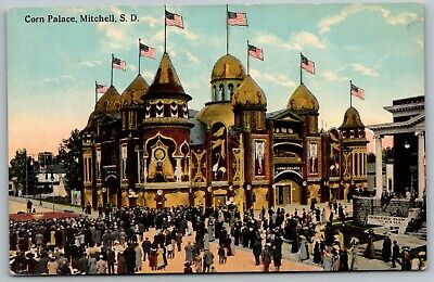 Mitchell SD~Corn Palace~Circus Act: Trapeze Artist in Street~Elks Bowery~1913 PC