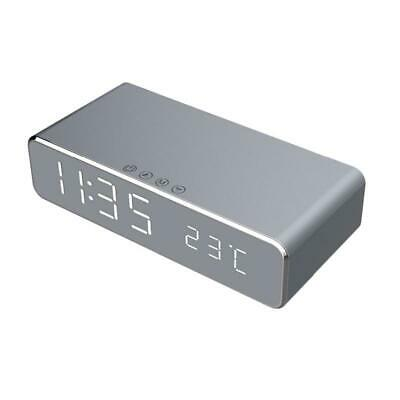 Electric Led Alarm Clock With Phone Wireless Charger Desktop Digital ThermoK9C8