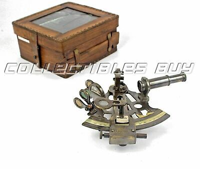 KELVIN & HUGHES Antique Brass Ship SEXTANT With Leather Box Nautical Solid Style