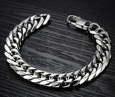 Men's High Quality Stainless Steel Silver Cuban Curb Chain Bracelet 8.66''x 14mm