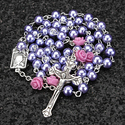 Catholic Purple Pearl Bead Rosary Necklace Our Rose Lourdes Medal Cross