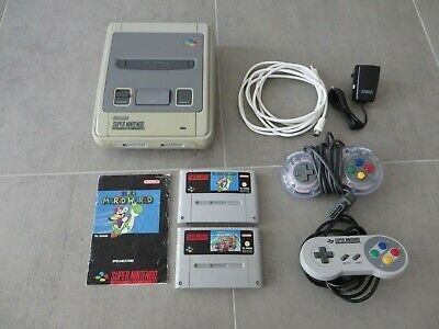 Super Nintendo Konsole + 2 Spiele: Super Mario Kart + World SNES