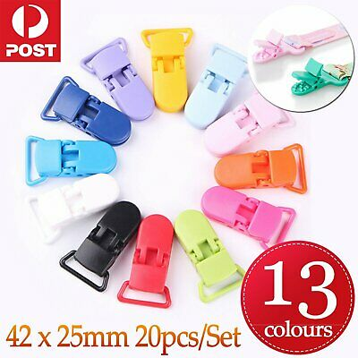 20 Random Colored Plastic Baby Pacifier Suspender Dummy Clip Badge Holder Craft