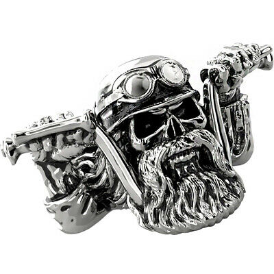 Skull Ring Beard Biker Punk Gothic Rock Mens Mustache Steel Stainless Sizes 8-15
