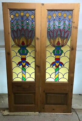 Stunning Rare Stained Glass Doors Double Set Antique Period Reclaimed French Old