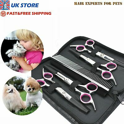 Cat Dog Pets Hair Grooming Cutting Thinning Scissors Set Curved Shears Comb Kits