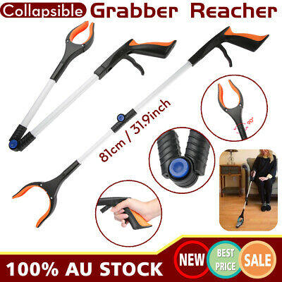 Foldable Garbage Pick Up Tool Grabber Reacher Stick Reaching Grab Claw Grip 81cm