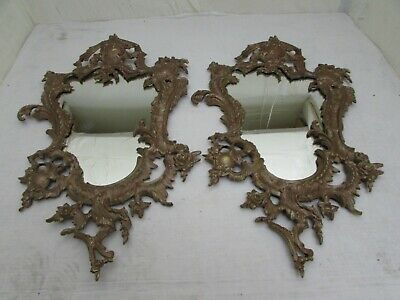 Superb Antique Pair Of French Gilt Bronze Rococo Style Wall Mirrors