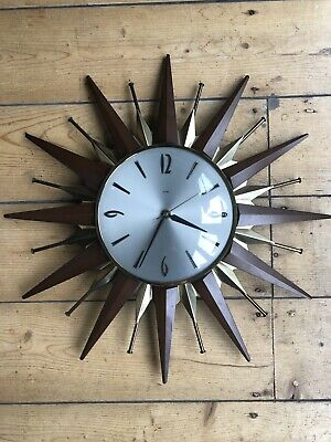Vintage Retro 1960's Metamec Sunburst Starburst Wall Clock