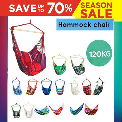 Hammock Hanging Rope Chair Swing Chair Seat with 2 Pillows Garden Picnic Use