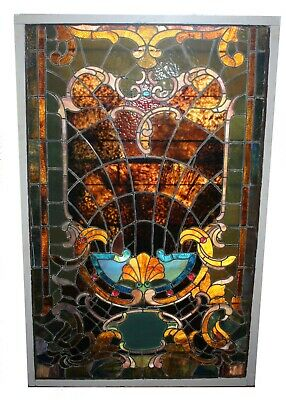 BEAUTIFUL ARCHITECTURAL STAINED & LEADED GLASS WINDOW Memory Of My Mother