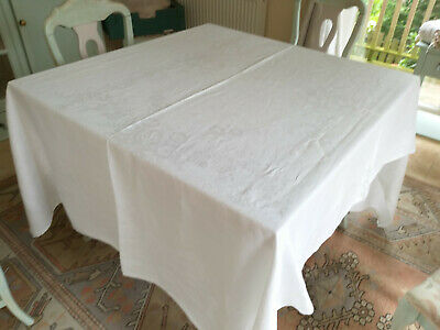 LARGE VINTAGE  CREAM  COTTON  DAMASK  TABLECLOTH  225 cms X 165 cms