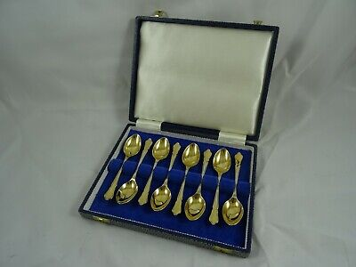 BOXED set x 8 silver gilt TEA SPOONS, 1973, 142gm