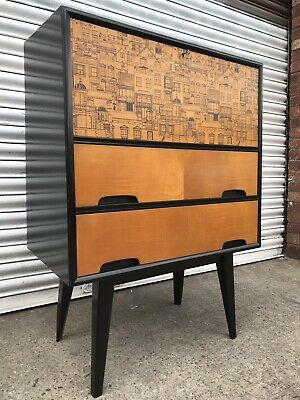 vintage cabinet Bureau Sideboard 1950s 60s Heals Fornasetti Style