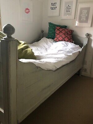 Lovely Antique/Vintage Large Single Grey Painted Wooden Bed - Mattress If Wanted