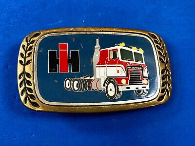1980 solid brass IHI semi trucking lines belt buckle International harvester