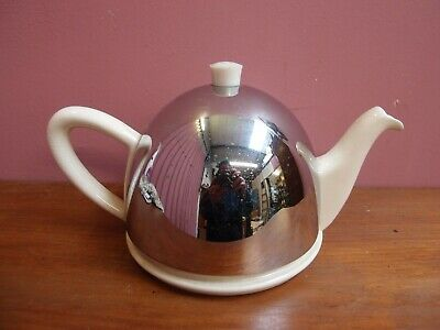 "CLASSIC VINTAGE 1930's ART DECO ""STAHOT"" TEAPOT WITH CHROME COVER"