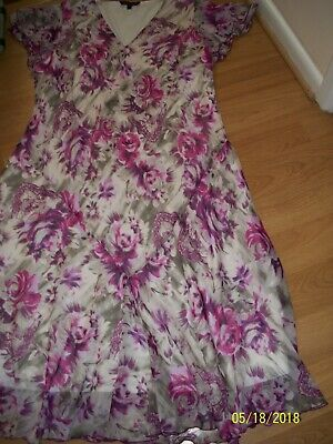 Pretty floral long size 24 ladies lined summer s/sleeve dress Hudson&Onslow