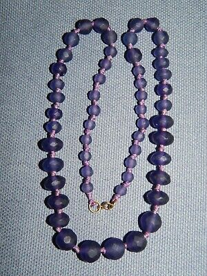 VINTAGE ART DECO FROSTED PURPLE GLASS BEAD NECKLACE ~ KNOTTED ~ CZECH c1930's