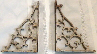 Small Pair ANTIQUE White Painted CORNER BRACKETS Scrolled Design