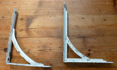 2 VINTAGE Mailbox BRACKETS Metal White CHIPPY CHIPPED PAINT