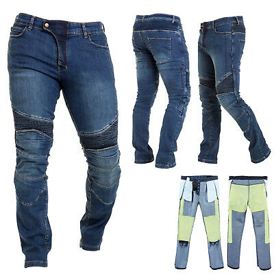Men's Motorbike Motorcycle Biker Trousers Kevlar Jeans With Protective Lining CE