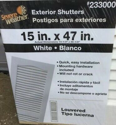 Severe Weather4 pairWhite Louvered Vinyl Exterior Window Shutters 15in X 47in