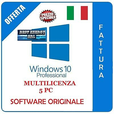 Windows 10 Pro Professional  32/64 bit Fattura SDI  - Originale - licenza 5 pc