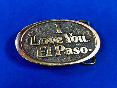 vintage -  I love you El Paso - TX Texas City State belt buckle by Adezy